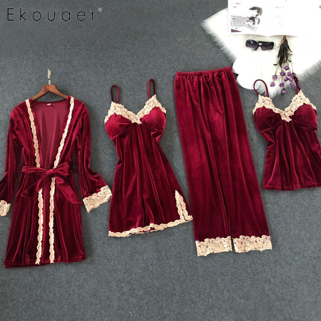 Ekouaer Women Sleepwear Kit Velvet 4 Pieces Pajamas Sets Sexy Lace Robe Nightgown Pajamas Nightwear Kits Female Home Clothing