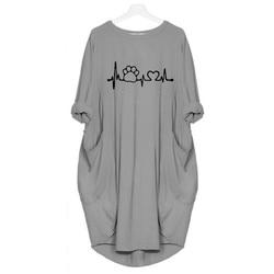 2019 New Fashion shirts Dog Cat Heart Print Tops Plus Size Tshirt Funny clothing  Kyliejenner Rock tshirt women plus size 4