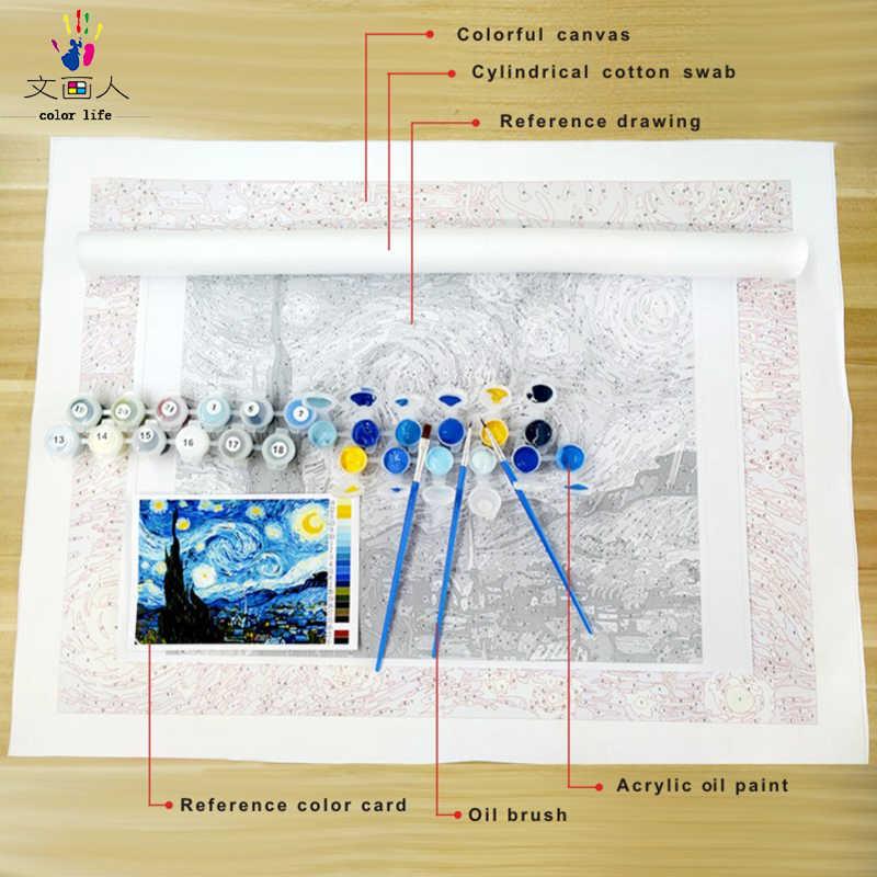 DIY Раскрашивание картины по номерам с цветами знаменитая картина материнская любовь Картина Рисунок Живопись по номерам в рамке дома