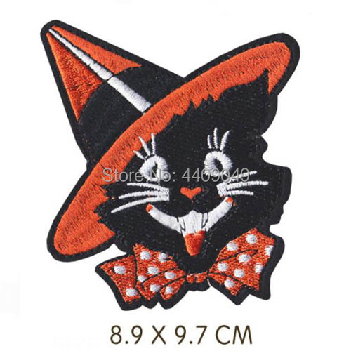 Iron on Black Cat Halloween Applique Patch Witch/'s Hat