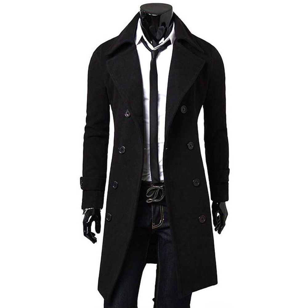 2018 New Style Fashion Solid Button Men Solid Double Breasted Slim Warmer Winter Long Coat Overcoat Blend(China)