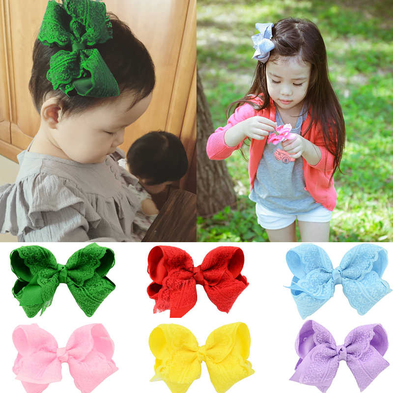 1PC HairPins Hair Clips Elegant Ribbon Bowknot Flower Kids Newborn Lace Hair Accessories For Younger Girl Headwear Hair bows
