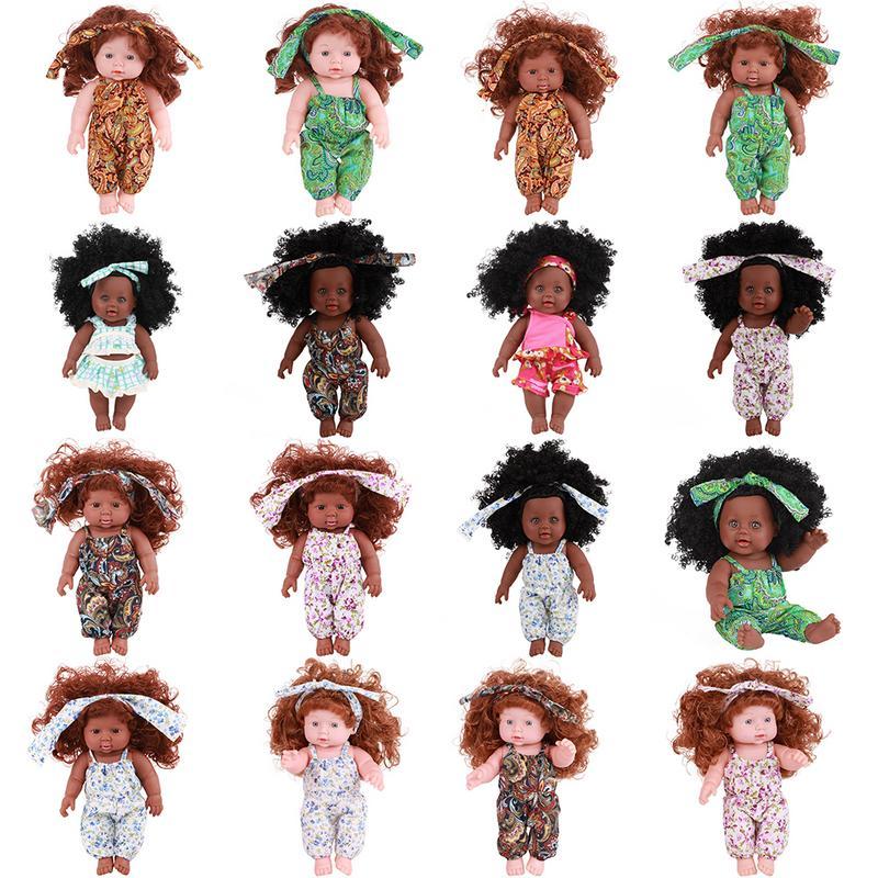 Afrikanische Schwarz Baby Puppe Reborn Mädchen 30 cm Gelb Boneca Corpo Interaktive Silikon Reborn Baby Puppen Geboren Lebensechte Kinder