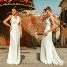 אלגנטי שנהב חתונת שמלת Boho Robe דה Mariee פשוט קו V צוואר שרוולים תחרה שמלות כלה לטאטא רכבת Vestido דה Noiva