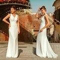 Elegante marfim vestido de casamento boho robe de mariee simples a linha decote em v sem mangas rendas vestidos de noiva varredura trem de noiva