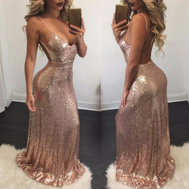 Autumn Women Spaghetti Straps Long Dress Sexy Gold Sequin Night Party Dress Sleeveless Backless Maxi Dresses Vestido in Dresses from Women 39 s Clothing