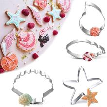 4/set New Stainless Steel Biscuit Mold Conch Seashell Starfish Dolphin Cutting Set Cake Cooking Tool Practical Die