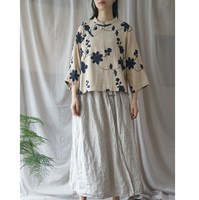 b4d535d1e 2019 Casual Embroidery Floral Shirts Women Stand Neck Cotton Linen Blouses  Vintage Chinese Style Tops Cloths