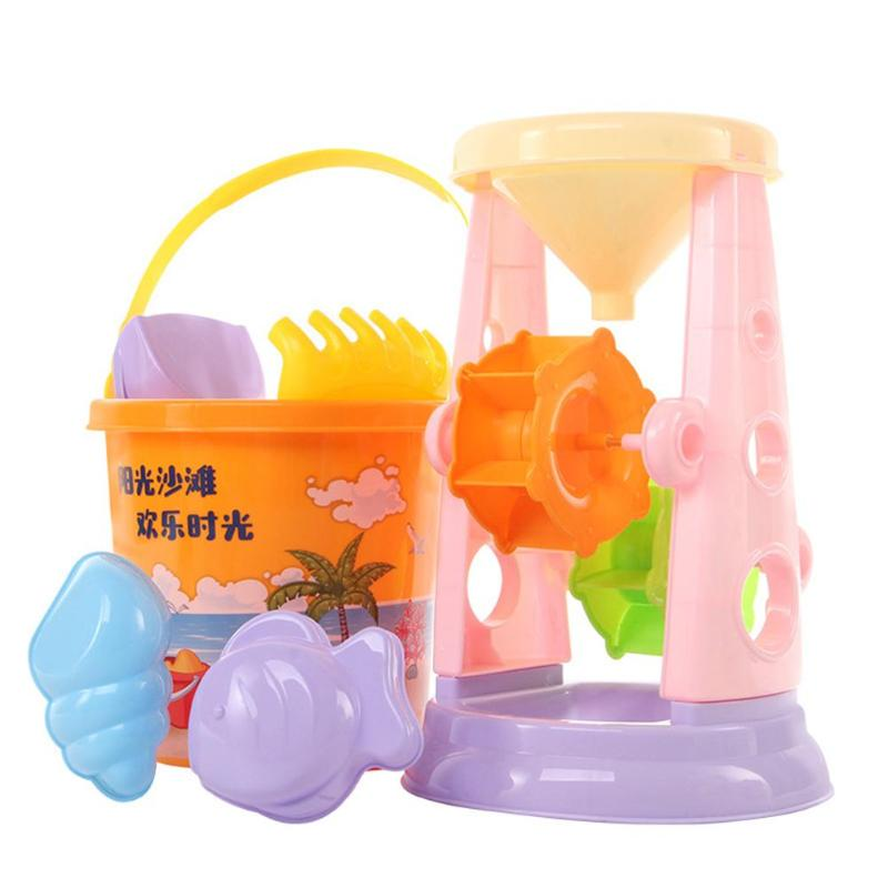 Portable Summer Plastic Beach Bucket Hourglass Kit Sand Play Children Toys Beach Sand Games Toys  Seaside Fun Game For Kids Toys