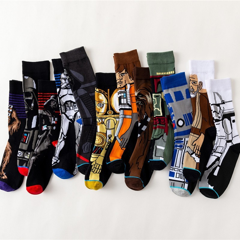 Movie Star Wars Novelty Funny Ventilation Adult Men Crew Happy Harajuku Hip Hop Socks High Quality Casual Cotton Socks Winter