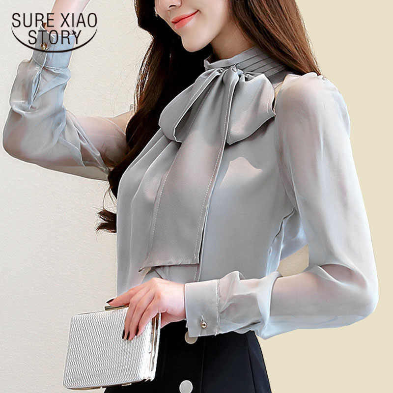 Autmun long sleeve shirt women fashion womens tops and blouses 2018 solid bow stand collar office blouses women blusas 1286 40