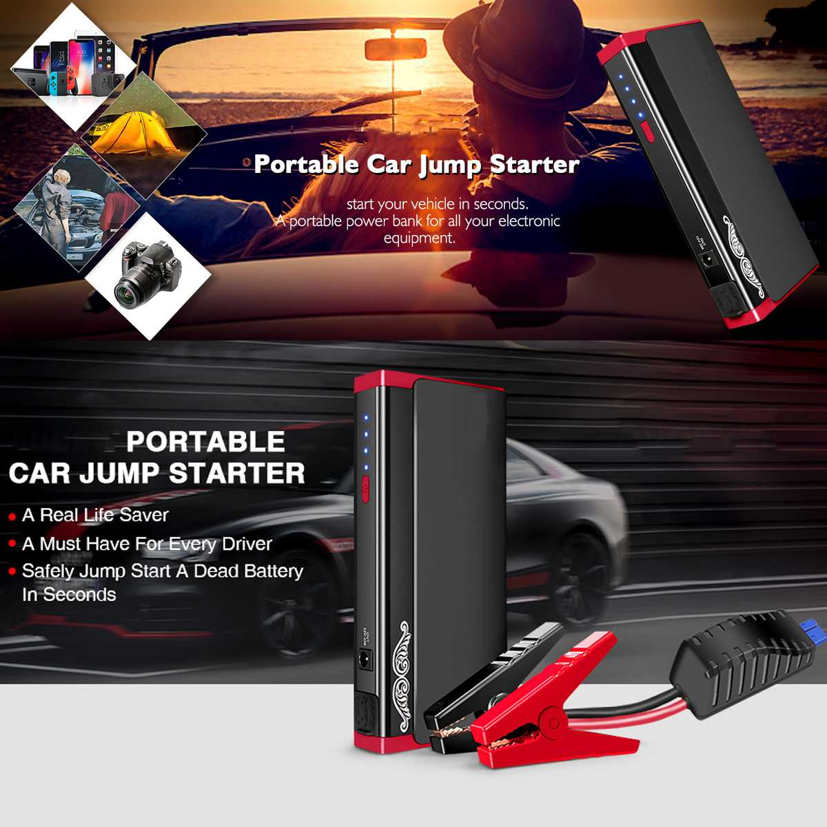 AUDEW LED Car Jump Starter 13800mA Portable Booster Battery Charger 2 USB Power Bank Starting Device
