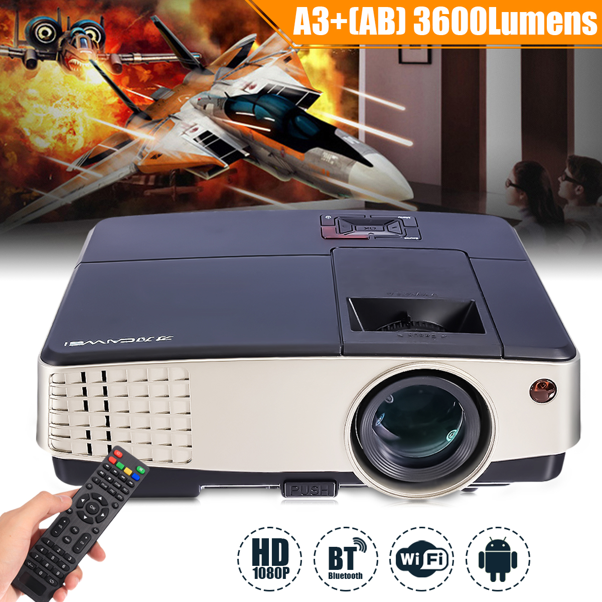 3600 Lumens A3+AB Projector 1080P Full HD LCD Wifi Home Theater Cinema 72W LED Android 4.4 Bluetooth Multimedia Beamer wzatco 5500lumen android smart wifi 1080p full hd led lcd 3d video dvbt tv projector portable multimedia home cinema beamer