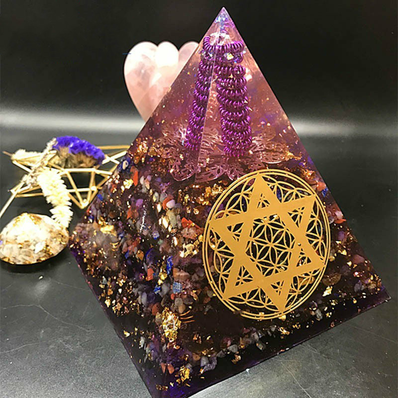 AURA REIKI Orgonite Pyramid White Crystal Column Sahasrara Chakra Raziel Natural Crystal Resin Bring Lucky Purple Pyramid Crafts