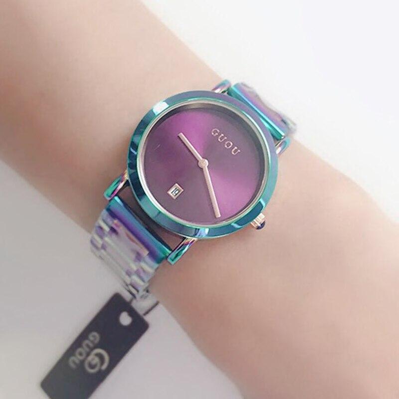 9d836dbb095a2 2018 Relógio GUOU Mulheres Moda Colorida de Aço Senhoras Relógios de Luxo  Requintado Presente das Mulheres