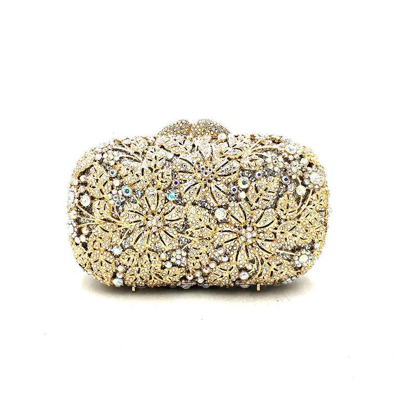 ... Women evening party bag diamonds elegant crystal clutch luxury bridal  wedding party wallet purse handbag flower ... b6ee9ee67dc8