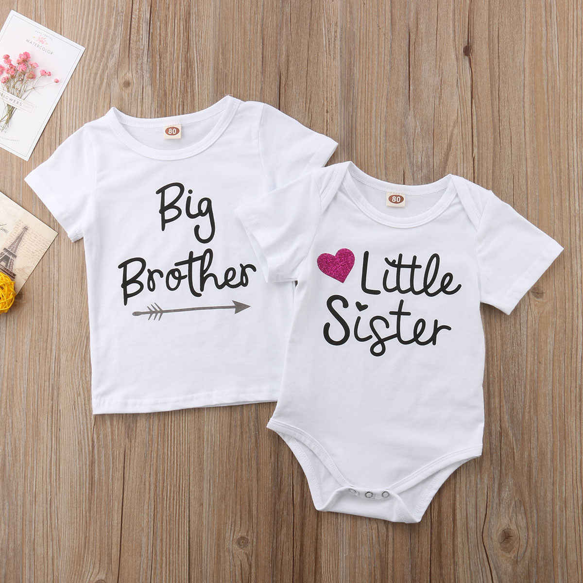 Kingte Infant Toddler Girls Big Sister T Shirts and Little Sister Romper Sister Outfits Clothes