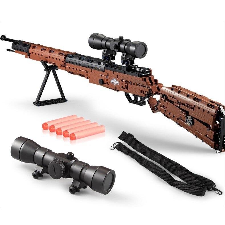 DOUBLE E Fusil Grande Taille 98 K Pistolet Électrique Jouets Blocs De Construction Ensemble 653 pièces Briques Arme Compatible Avec Cadeau Modèle Armée Blocs