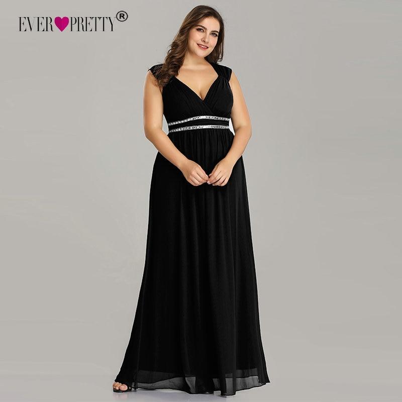Black   Prom     Dress   2019 Plus Size Ever Pretty Elegant A Lin V Neck Crystals Burgundy Long Formal Party Gown Vestidos De Fiesta
