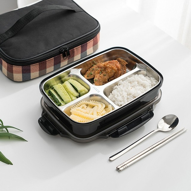 Lunch Box Stainless Steel Portable Picnic Office School Food Container With Compartments Microwavable Thermal Bento Box with Bag