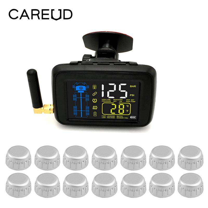 Carros Caminhões TPMS Sistema de Monitoramento de Pressão Dos Pneus Do Carro Sem Fio Universal + 14 Roda Sensor de Cor LCD Externo Bateria Substituível