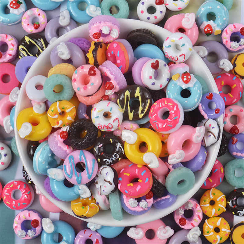 10pcs Fashion Colorful Resin Simulation Miniature 3D Cute Donuts Flat Back Cabochon Phone Decoration Scrapbooking For Women Girl