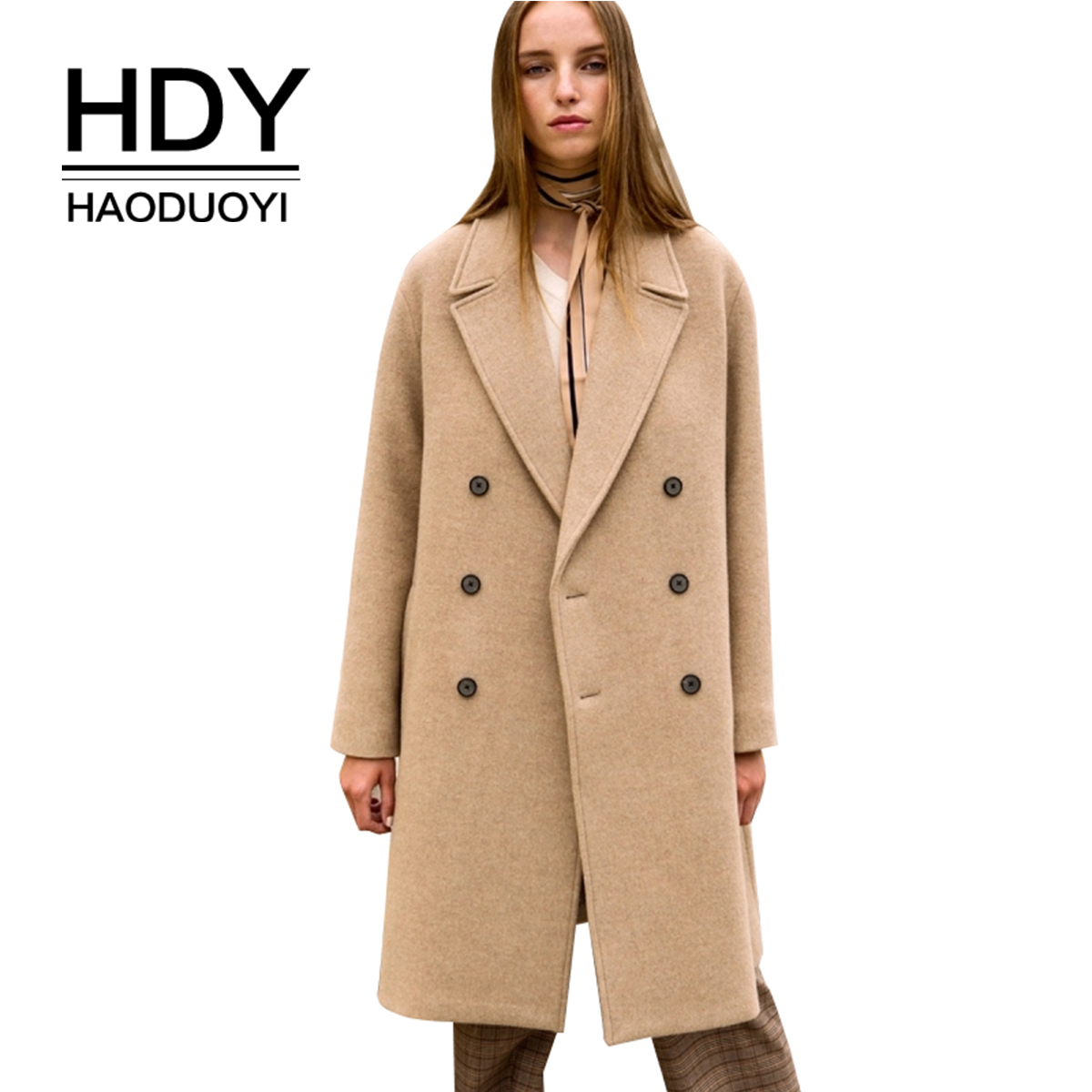 HDY haoduoyi простой темперамент пригородных основных пальто флип воротник двубортный верблюжий длинное пальто