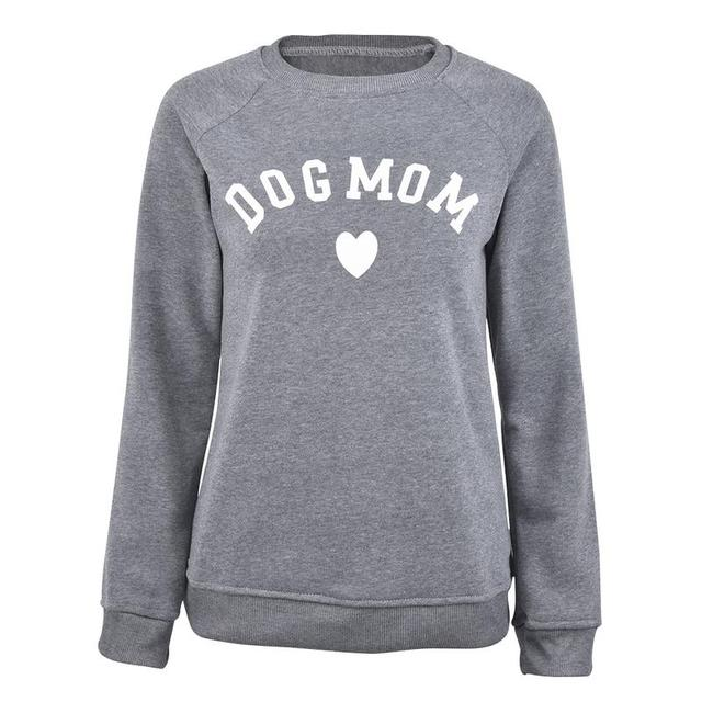 Dog Mom Women's Plus Velvet Fashionable Long Sleeve Casual Sweatshirt Printing Heart-shaped Print Kawaii Sweatshirt Clothing 3