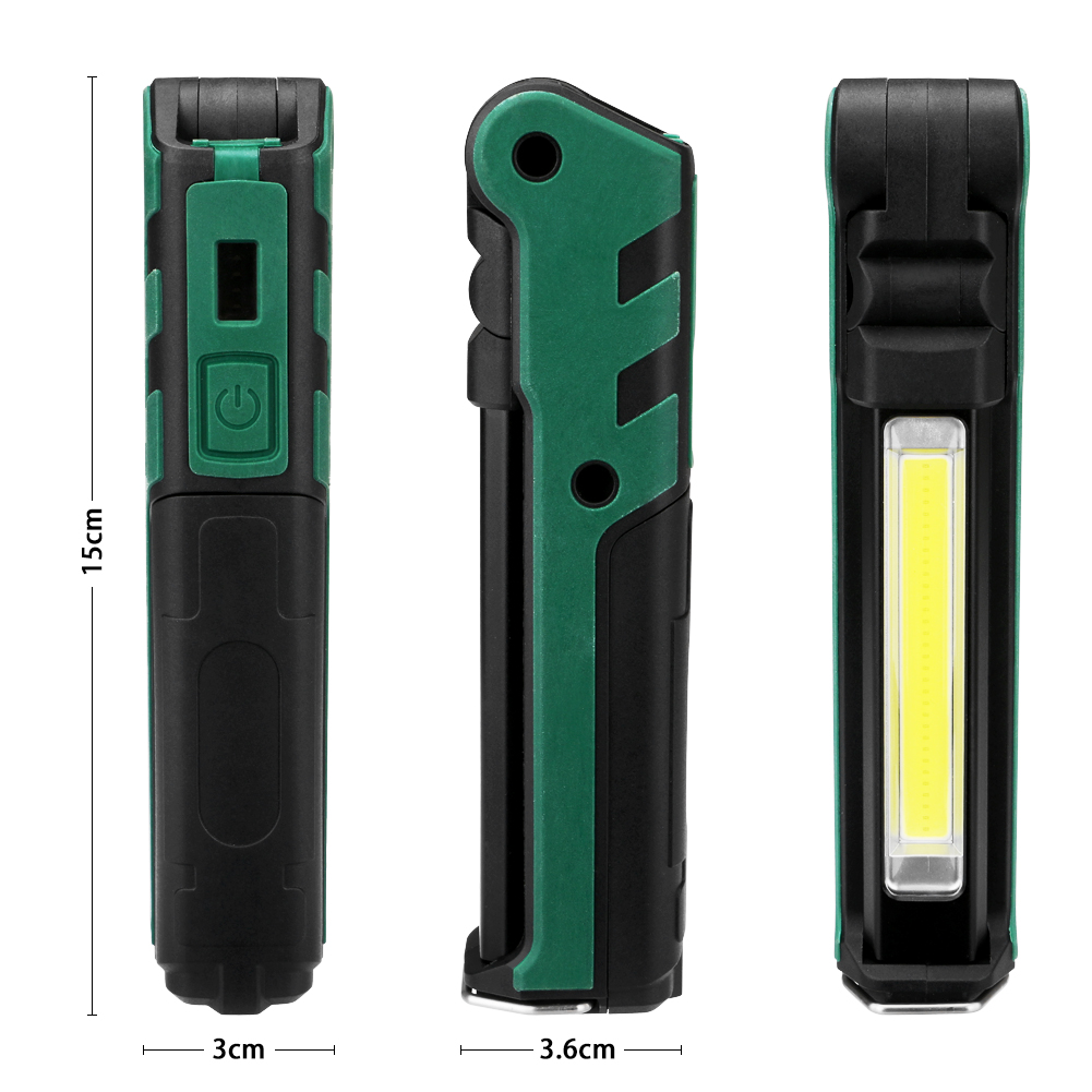 2019 Foldable Outdoor Camping Light Portable Lantern USB COB Work Light Flashlight Lamp with Hanging Hook, Magnet Built battery