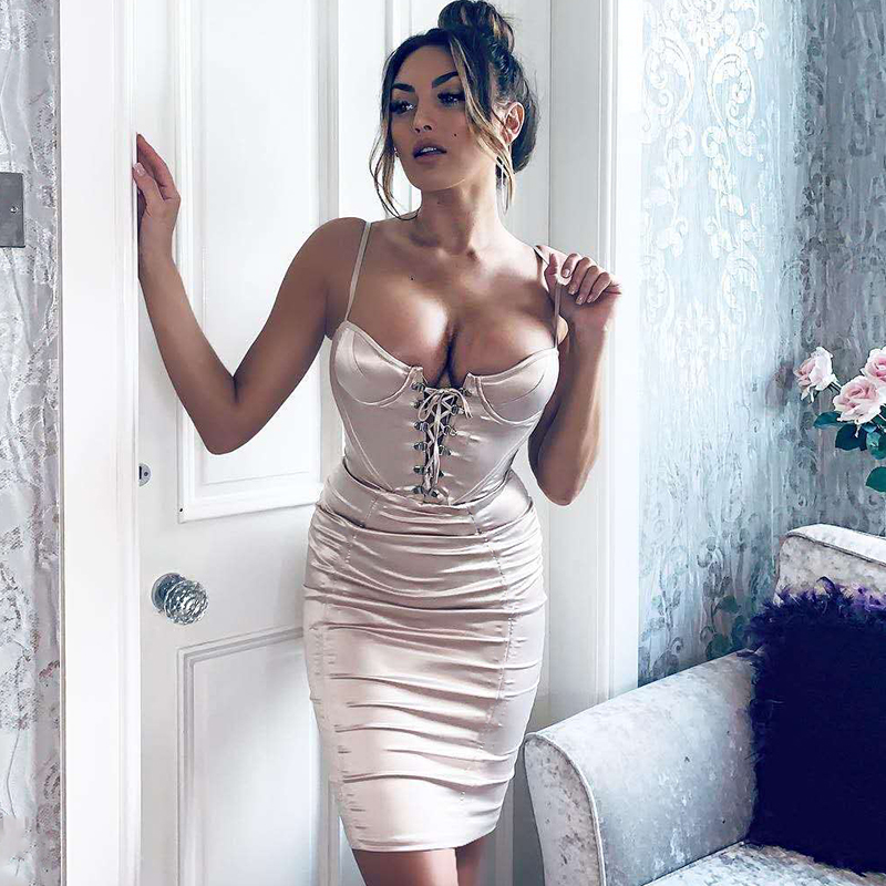Parthea 2019 New Push Up Satin Dress Women Summer Spaghetti Straps Lace up Bust Tie Party Dress Sexy Bodycon Elegant Dresses Red in Dresses from Women 39 s Clothing