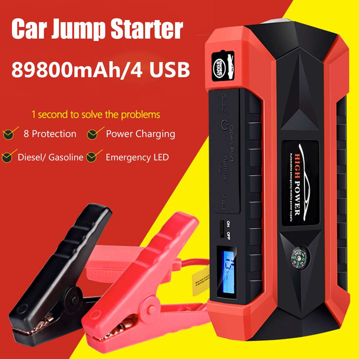 89800mAh 4USB 12V 600A LED Car Jump Starter Portable Emergency Charger Battery Power Bank Car Booster Starting Device Waterproof