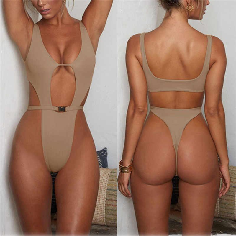 2019 vrouwen Badmode Sexy hoge cut een stuk badpak badpak Wit Kaki thong badpak vrouwelijke Monokini Biquini