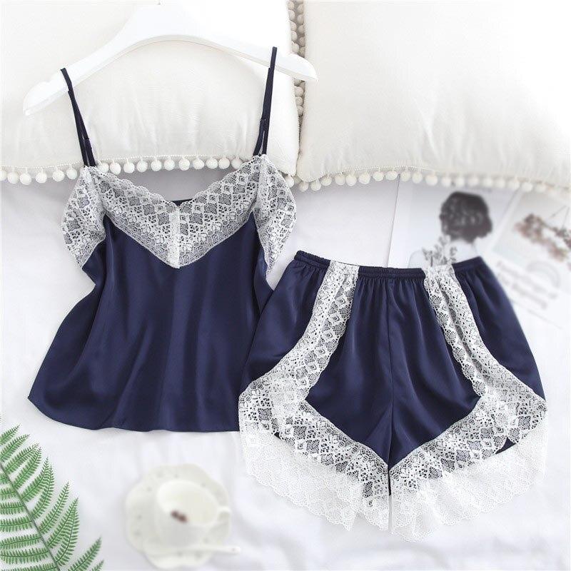 Summer Sexy Women Short Pants Pajamas Sets Shorts Lace Patchwork Pajamas Sets Nighties Sleeveless Sleepwear Set