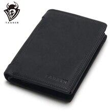 TAUREN дизайнерский короткий кошелек из 100% натуральной воловьей кожи темный/черный мужской кошелек Crazy Horse кошелек держатель для карт карман для монет мужские кошельки