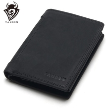 TAUREN Designer 100% Genuine Leather Cowhide Dark/Black Crazy Horse Men Short Wallet Purse Card Holder Coin Pocket Male Wallets