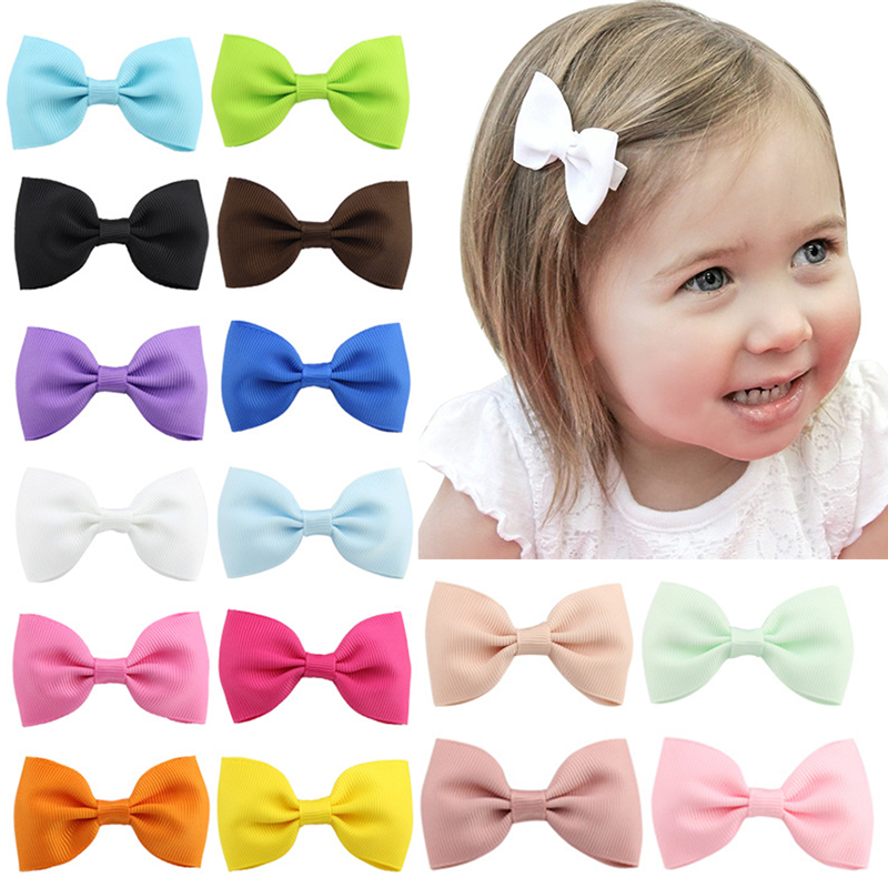 New 1PC Duckbill Clip Girls Candy Hair Clip Barrettes Bowknots Ribbon Solid Kids Women Hairpins Bows Solid Hair Accessories