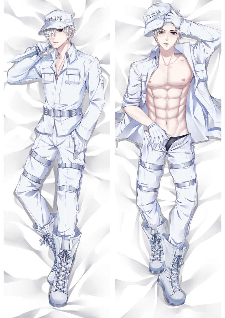 Japanese Anime Hataraku Saibo White Blood Cell U-1146 BL Man Male Anime Dakimakura Decorative Pillow Case Cover Hugging Body