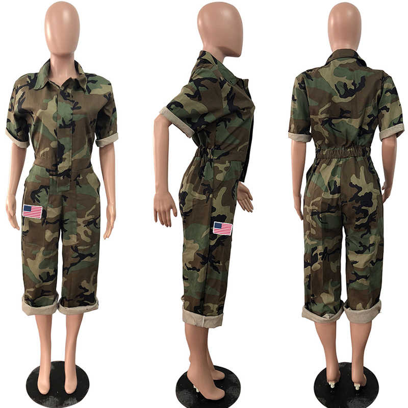 Women Camouflage Jumpsuit Army Military Cargo Shorts Female Playsuit Plus Size Print Rompers Zipper Streetwear Chic Turtleneck