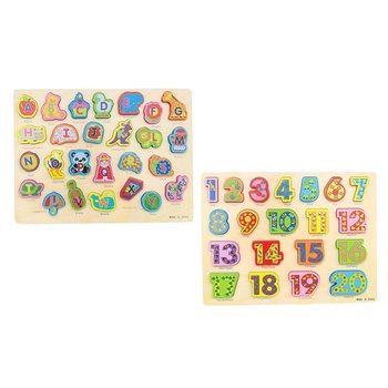 2pcs Wooden Number Letter Blocks Puzzle Hand-eye Coordination Montessori Early Learning Educational Toys for Children Kids