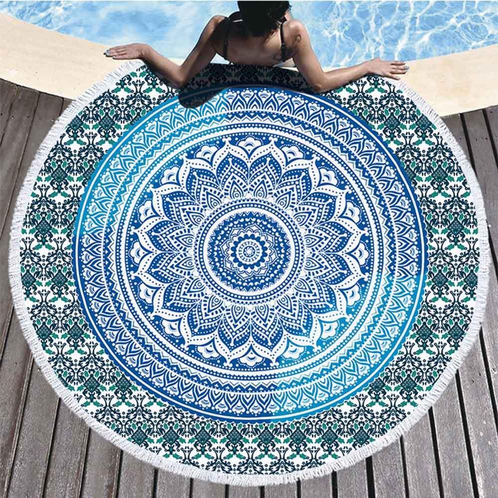 Mandala Round Tapestry Summer Beach Towel Bikini Shawl Picnic Throw Rug Blanket Tassel Bohemia Mats Yoga Mat Home Decor Textile