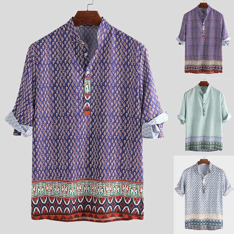2020 Ethnic Style Print Men Shirt Short Sleeve Stand Collar Casual Tops Loose Vintage Beach Men Hawaiian Shirts Camisa Masculina