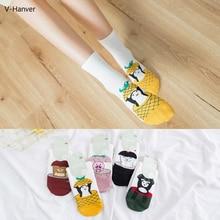 Women Short Ankle Socks Cotton Solid Standard Casual Style Female Harajuku Cartoon Cute Korea Fruit Print Pineapple