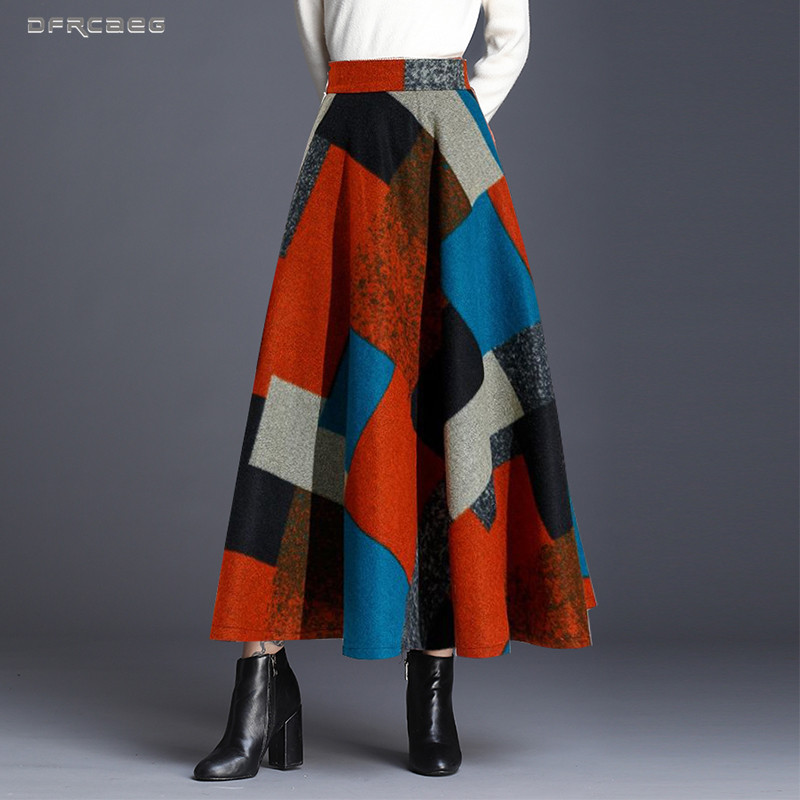 Print Women Woolen Maxi Skirt Fashion Winter High Waist  Warm Wool Skirts Ladies Casual Elastic Waist A-Line Long Skirts Female