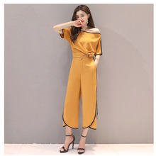 Summer  Fashion Women Black White Shirts Wide Leg Pant Casual Office Lady Two Piece Sets Woman Tops Elegant Suits