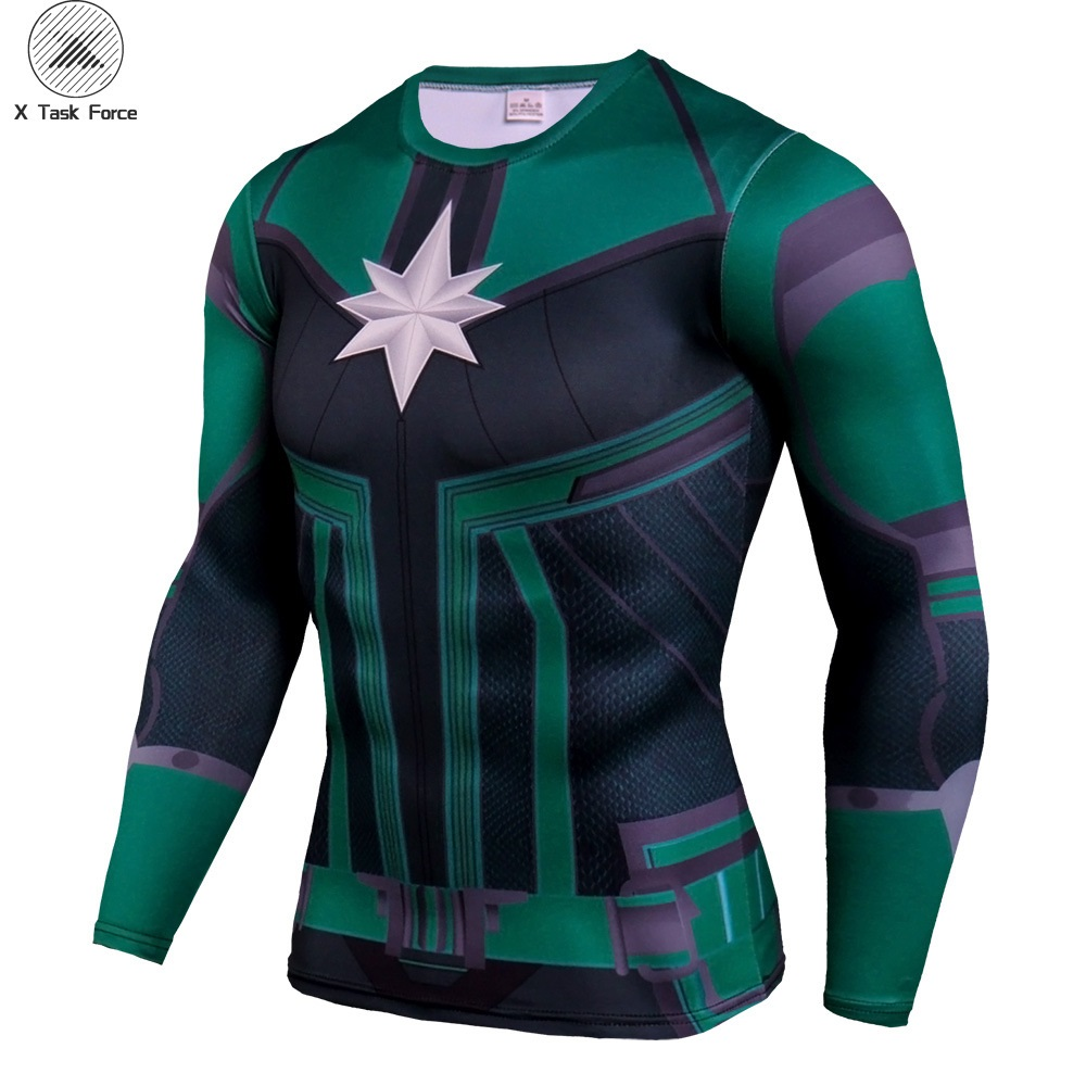 2019 New arrive popular movie Captain Marvel 3D Printed T-shirts Men Super-Heroes compression Fitness Clothing Male Tops