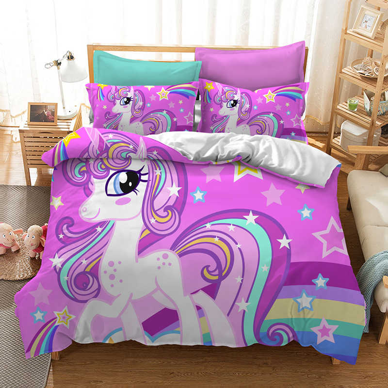 Yi chu xin 3d Cartoon unicorn bedding sets single kids flower unicorn duvet cover set bed set Microfiber Fabric