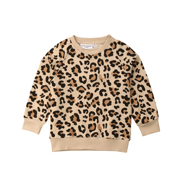 New Arrivels Casual Baby Girl Boy Leopard Top Sweatshirts Toddler Kid Long Sleeve Top Sweatshirt Coat 1-7T