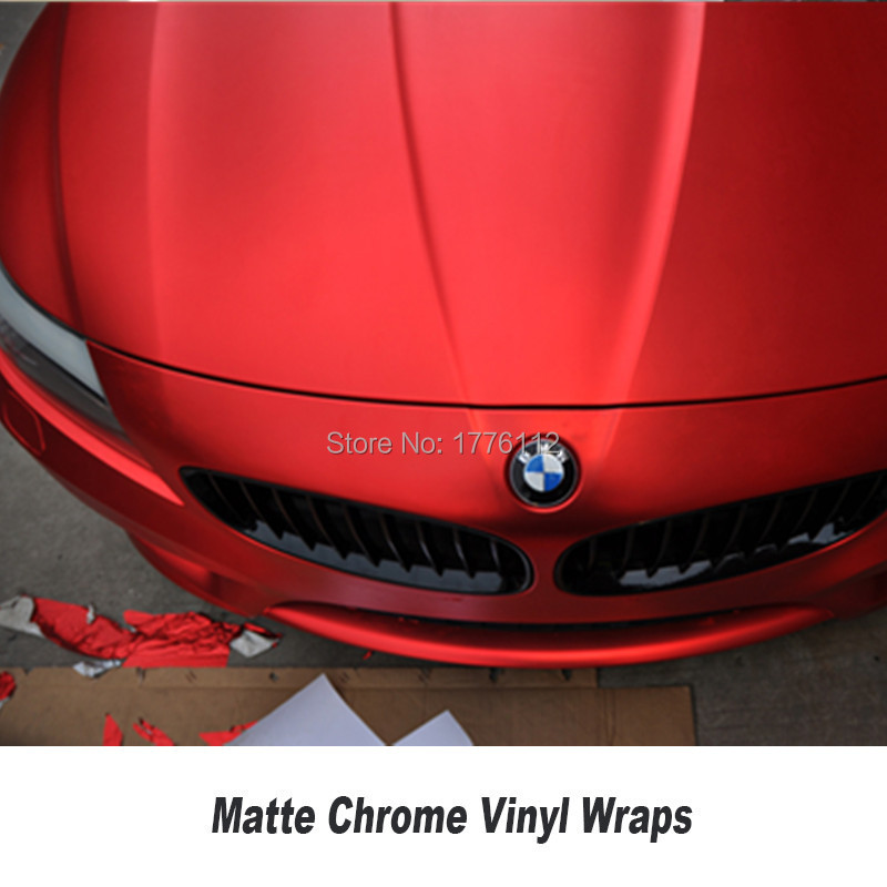 Film de protection pour voiture en vinyle chromé mat rouge pour voiture - 3