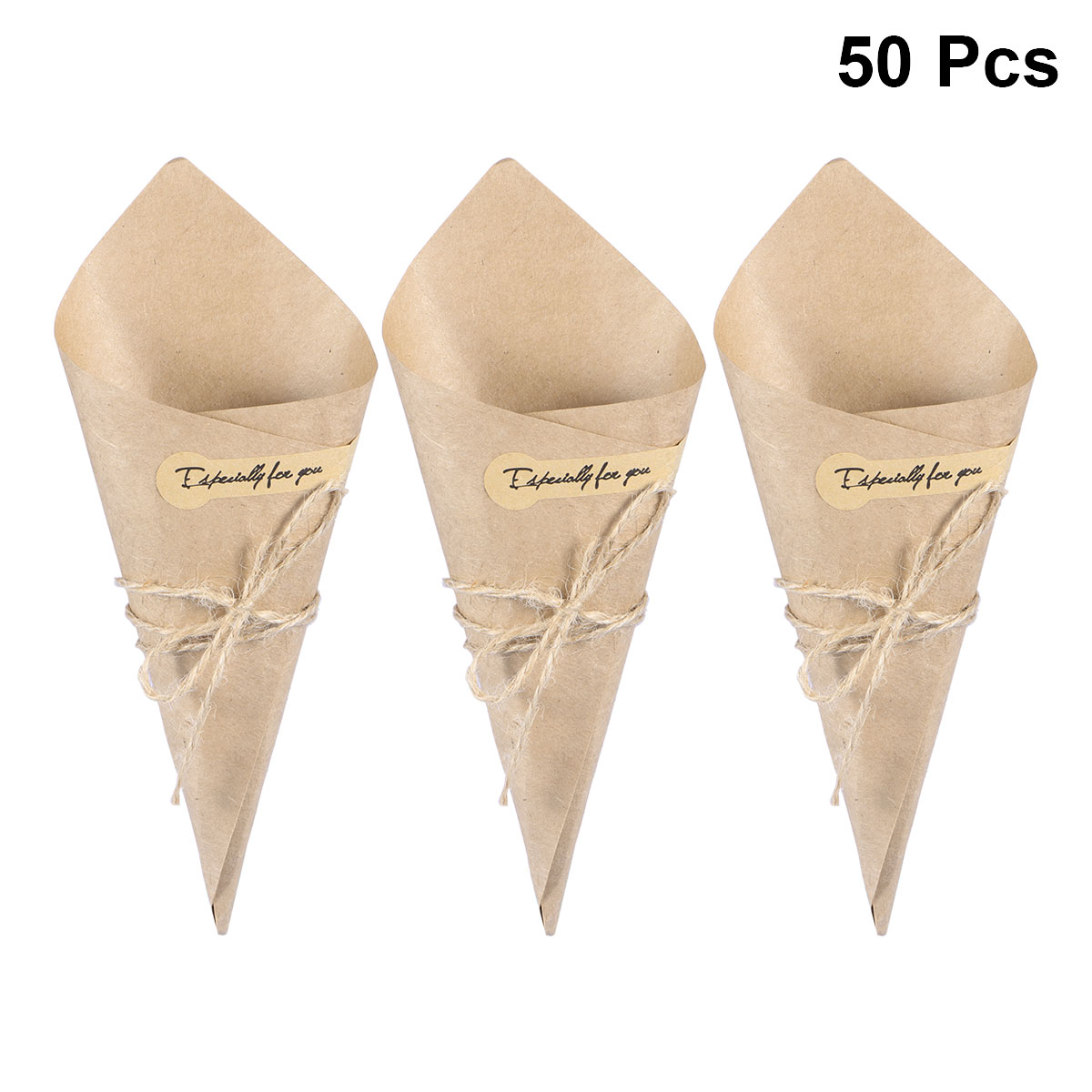 Paper Gift Box 50PCS Kraft Paper Cones Ice Cream Flower DIY Bouquet Holder Candy Boxes Table Decor Wedding Gifts Party Supplies