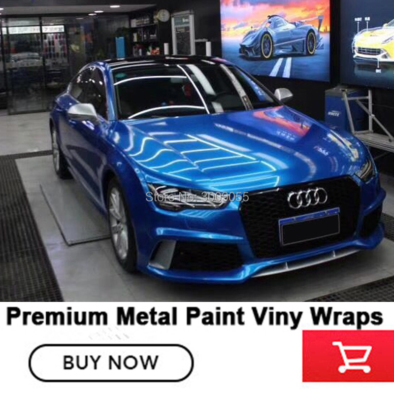 Classic Jazz Blue Glossy Metallic Vinyl Metal Paint Car Wrapping Film Germany Solvent Based Low Initial Tack Adhesive